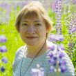 Woman in plant of violet wild lupine — Stock Photo #3833460
