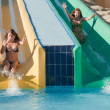 Girls in swimming pool water slide at aquapark - Stock Photo