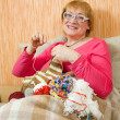 Knitting senior woman — Stock Photo #3839166