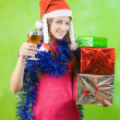 New Year's Eve party girl toasting the new year with little win — Stock Photo