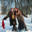 Two russian girls plays in winter — Stock Photo