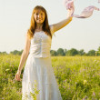 Girl on meadow grass — Stock Photo #3839760