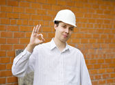 Happy builder with ok — Stock Photo