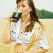 Girl with kvass — Stock Photo