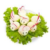 Stuffed eggs look like mouses — Stock Photo