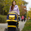 Mother with pram outdoor — Stock Photo
