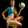 Sporty girl posing with volley-ball — Stock Photo #4101999