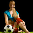 Woman with soccer ball — Stock Photo #4102024