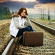 Sad girl on  railway - Stock Photo