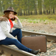 Woman on  railway - Stock Photo