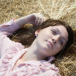 Country girl on hay — Stock Photo #4109441