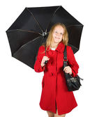 Girl in cloak with umbrella — Stock Photo