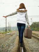 Girl along rail — Stock Photo