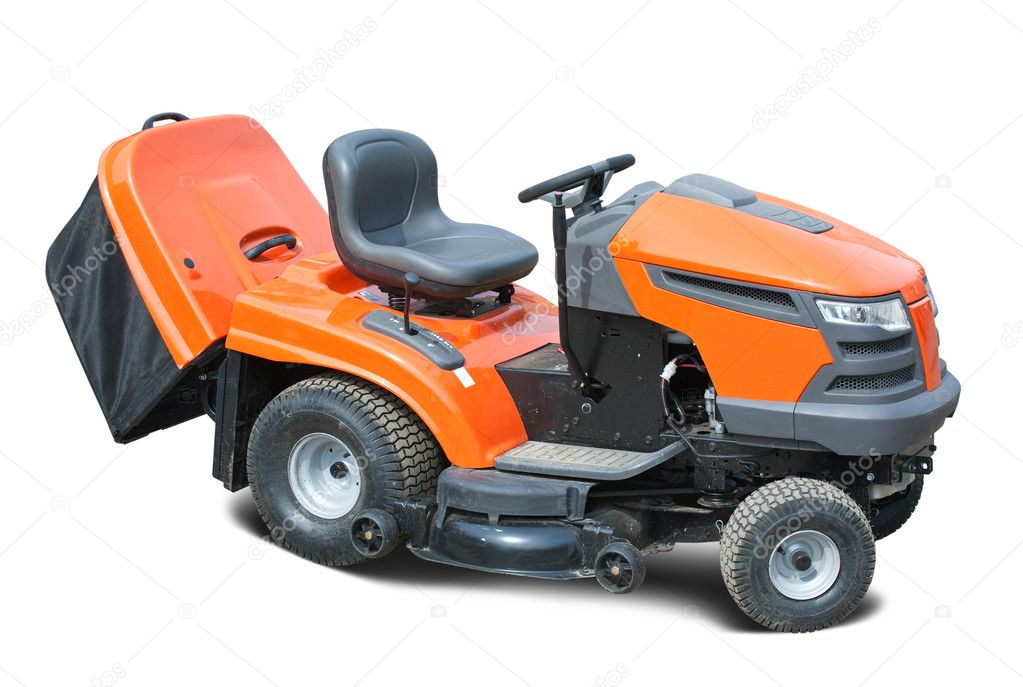 Orange lawn mower. Isolated with clipping path  Stock Photo #4103676