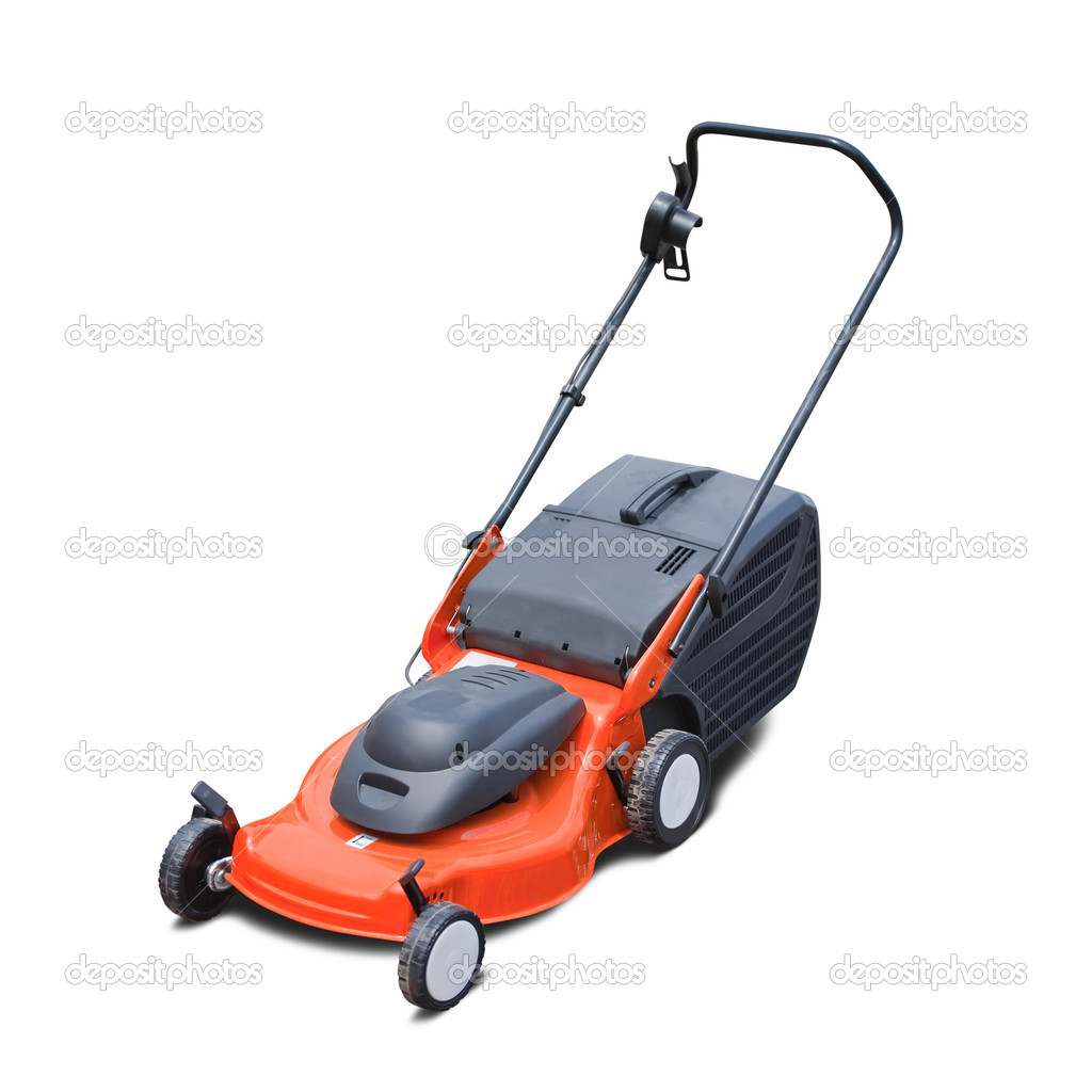Orange lawn mower. Isolated over white background — Stock Photo #4103690