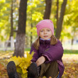 Girl with autumnal leaves — Stock Photo