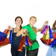 Five girls with shopping bags — Stock Photo