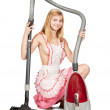 Sexy girl with vacuum cleaner — Stock Photo