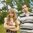 Couple after quarrel outside — Stock Photo