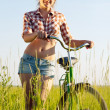 Girl with  bicycle - Stock Photo
