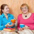Women have tea at home — Stock Photo