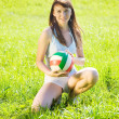 Girl with volleyball - Stock Photo
