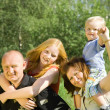 Happy family of fou — Stock Photo