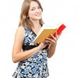 Schoolgirl with books , isolated over white — Stock Photo