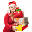 Girl with christmas gifts over white — Stock Photo #4112959