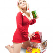 Girl with present boxes — Stock Photo #4113001