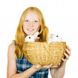 Teen girl with rabbits — Stock Photo