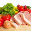 Raw pork and vegetables — Stock Photo