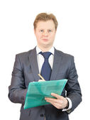 Businessman with documents and pencil — Stock Photo