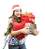 девочка-подросток с рождественских подарков — Стоковое фото