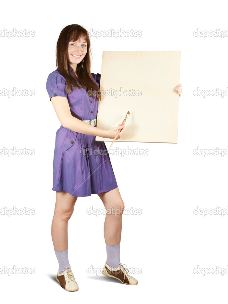 Girl with brush  and blank white canvas. Isolated over white — Stock Photo #4110433