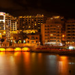 Stock Photo: St. Julian's from seside in night, Malta