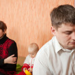 Stock Photo: Young marriage quarreling at home