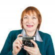 Senior woman with analogue camera — Stock Photo