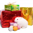 White  rabbit with gifts — Stock Photo