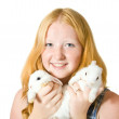 Teen girl with rabbit — Stock Photo