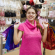 Girl with shopping bags in underwear shop — Stock Photo #4612687