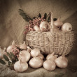 Stock Photo: Retro photo onion in basket