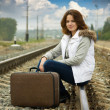Girl on  railway - Stock Photo