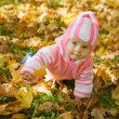 Girl playing with autumnal leaves — Stock Photo