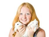 Teen girl with rabbit — Stock Photo