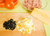 Ingredients for stuffed tomato — Stock Photo