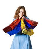 Dziewczynka gospodarstwa torby na zakupy — Zdjęcie stockowe