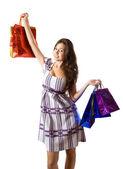 Menina com sacos de compras — Foto Stock