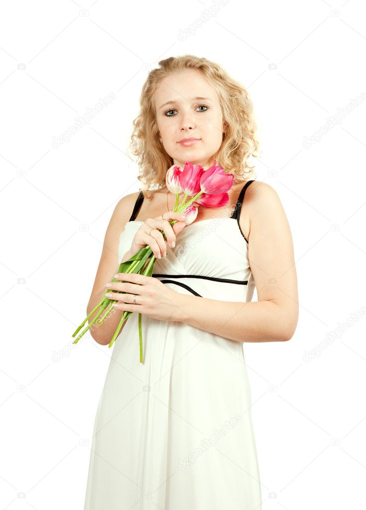 Beauty  girl with tulips, isolated on white background — Stock Photo #4619938