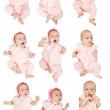 Set of 9 little baby girl — Stock Photo